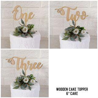 Wooden cake topper - ONE TWO THREE