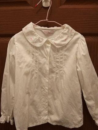 🚚 安妮公主經典白襯衫120