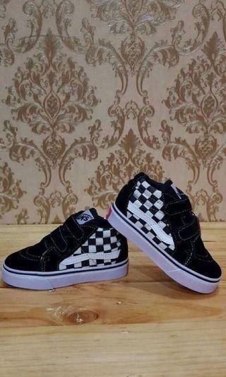 "Sepatu Anak Vans SK8 Velcro Checkerboard ""Black White"""