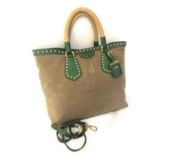 Must Go, Prada canvas brown green (Authentic) Fast sale!!!