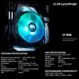 🚚 CRYORIG C7 RGB CPU COOLER LP HSF LOW PROFILE