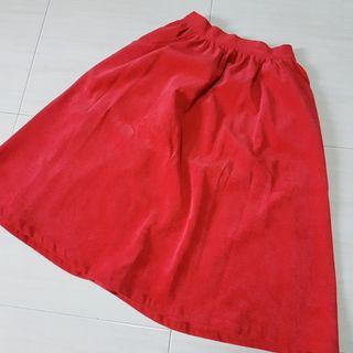 [WTS] Red velvet midi-skirt