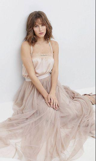 Authentic Needle & Thread Tulle Maxi Skirt in Blush Nude colour UK 8
