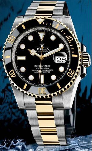 Rolex Submariner Date Yellow Gold/Steel Black Dial & Ceramic Bezel Oyster Bracelet 116613LN - BRAND NEW and Complete Set.