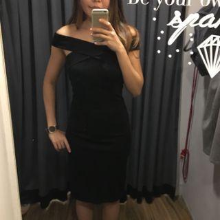 Off shoulder, cross front elegant black dress