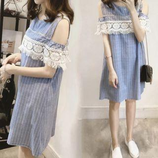 Light Denim Blue Vertical Stripes Maternity Nursing Breastfeeding Pumping Dress - cold shoulder style with lace