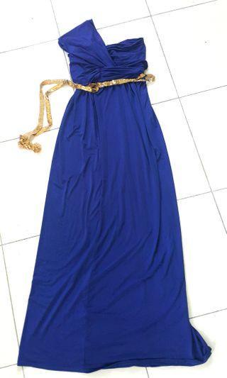 LONG ELECTRIC BLUE TOGA DRESS #gayaraya
