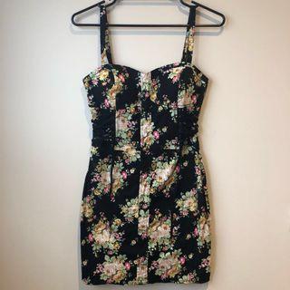 Bardot Floral Lace Up Dress