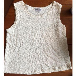 Vintage White Cotton Sleeveless Crop Blouse