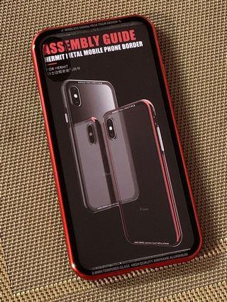 iphone X/XS 手機保護殻 玻璃底 紅色邊 送保護貼一張 #MTRkt