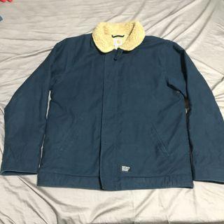 [L號] CARHARTT WIP 深藍 甲板外套 刷毛 毛料 工裝外套 夾克 保暖 二手