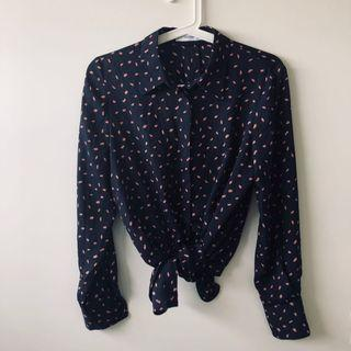 Pink spotted navy shirt