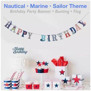 🎉 BIRTHDAY PARTY BANNER • BUNTING • FLAG DECORATION [Nautical • Marine • Sailor]