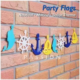 🎉 NAUTICAL • MARINE • SAILOR THEME PARTY FLAGS
