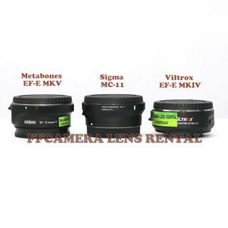 Metabones, MC-11, Viltrox EF-E, MC11 adapter Untuk di sewa, Lens Rental.