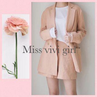 🚚 2件 Miss vivi girl ~高質感亞麻粉橙色外套+短褲、質感展現 /S-XXL/發訊訂貨