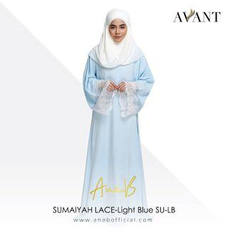 Ana B - SUMAIYAH LACE- Light Blue SU-LB / Korean Koshibo & French Lace / Abaya / Free Size / Jubah