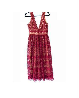 """Boohoo"" Midi Lace Dress"