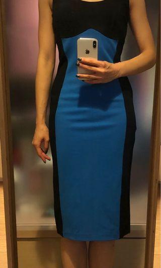 黑藍色修身連身裙 Black and blue slim fitting dress