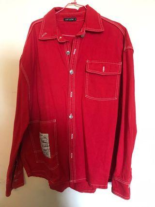 紅色牛仔長版外套