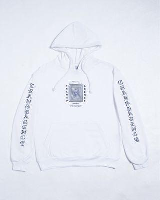 White transparency hoodie oversized