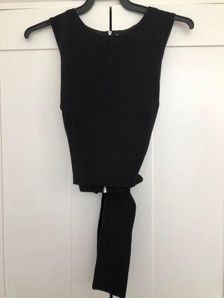 Brand new forever 21 black crop top with tie back
