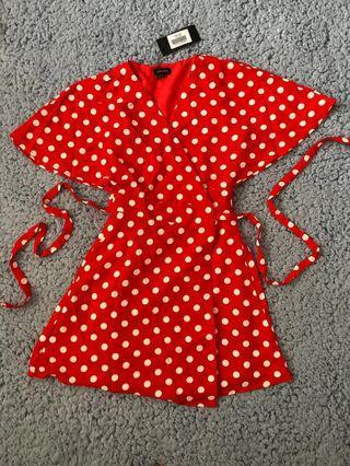 Zalora Red polkadot Wrap dress
