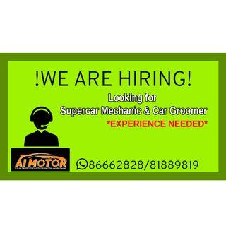 looking for Supercar Mechanic & Car Groomer! |HIRING|