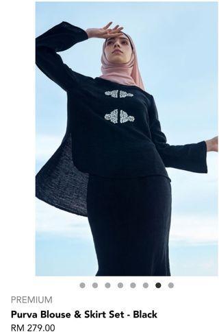 🚚 Poplook baju raya Purva Blouse & Skirt Set - Black