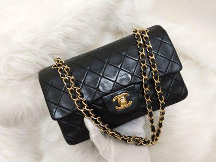 🎊On sale🎊現貨Vintage Chanel黑色羊皮菱格金扣CF23
