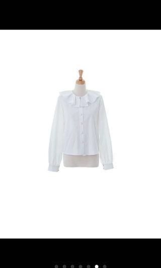 🚚 Marjorie 餘波盪漾荷葉領上衣白襯衫