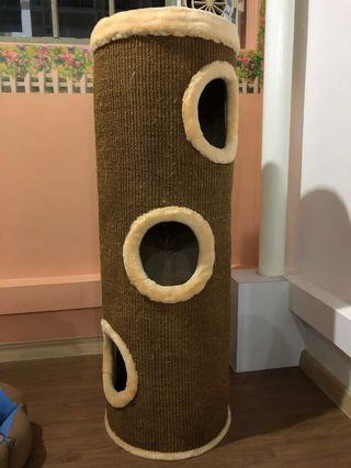 Tall sisal scratch post barrel cat condo