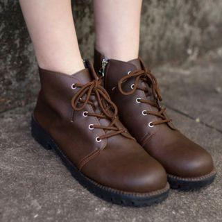 短靴.MIT簡約素面側拉鍊繫帶短靴 全新轉賣白鳥麗子 40號