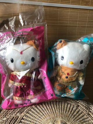 🚚 Hello Kitty Indian Bride and Bridesgroom Wedding Doll Costume Saree Plush Toy