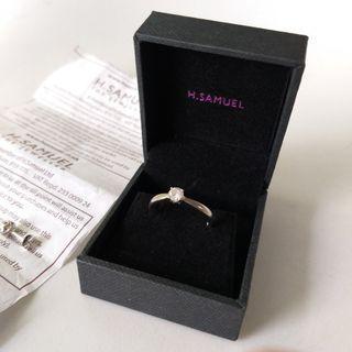 H Samuel 0.25ct 天然鑽石白金戒指 1/4ct natural diamong ring