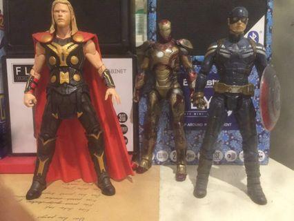 Marvel Select Captain America, Ironman Mark 42, Thor