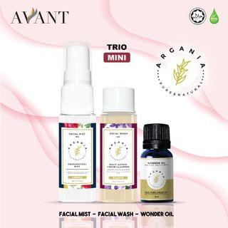 Argania Trio Mini / eczema and acne / travel pack / Argania Mini Wonder Oil / Aquaceutical Face Mist 10ml / Multiaction Cream Cleanser 10ml (Facial Wash)