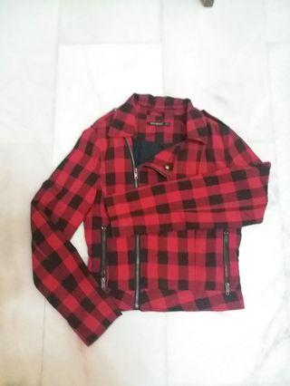 Red and Black Checkered Blazer