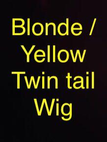 Blonde / Blond / Yellow / Golden Twin tails (Pig tails) / Ponytail long clip on Wig ( Twintail / Pigtail )
