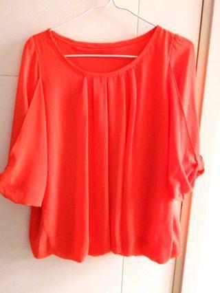 雪紡紗鮮橙泡泡衫#MTRtw
