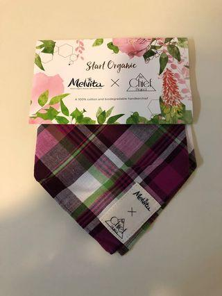 Melvita x the chief project handkerchief, 100% cotton and biodegradable handkerchief, luxury fabric Only can trade at Kowloon bay mtr station or by post