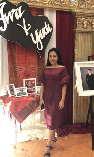 Bridesmaid dress, baju kondangan, dress maroon