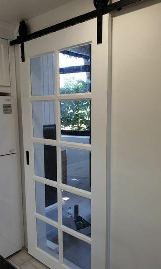 wooden country style sliding door with external tracks