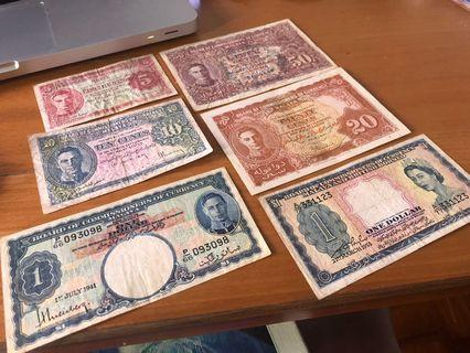 Malaya 1941 (5, 10, 20, 50 cents, 1941 and 1953 one dollar