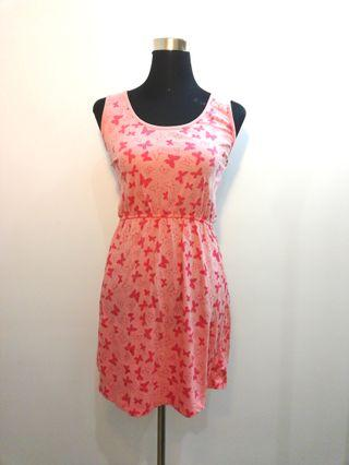 Pink butterfly dress with cut-out back
