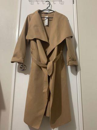 Tan Belted Waterfall Coat