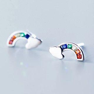🚚 100% 925 Solid Real Sterling Silver Jewelry Colorful CZ Rainbow Cloud Stud Earring