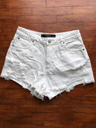 FACTORIE White High waisted denim shorts