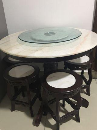 Round Dining Table Set Marble 90cm diameter with 4 stools