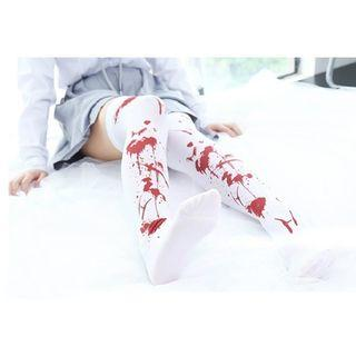😈BLOOD STAINS PATTERN OVER KNEE WHITE TIGHTS HIGH FOOTED STOCKINGS LOLITA COSPLAY WOMEN FASHION😈